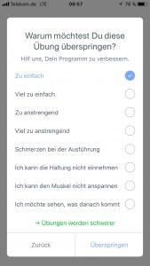 Screenshot der Kaia App mit einem Fragebogen
