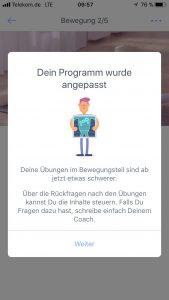 "Screenshot der Kaia App mit dem Hinweis ""Dein Programm wu8rde angepasst"""
