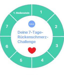 Screenshot, der digitales Lob am Ende der 7-Tage-Rückenschmerz-Challenge zeigt