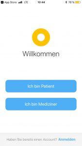 Setup-Screen der App minxli. Beim ersten Start wird die für die Nutzung als Patient oder Arzt konfiguriert.