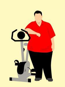 Illustration eines Menschen mit Adiposita, der sich an einen Ergometer lehnt