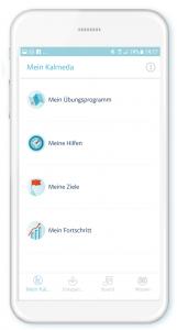 Screenshot der Benutzeroberfläche der Kalmeda-App zur Tinnitus Therapie