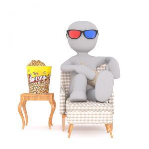Illustration eines Männchens mit Shutterbrille und Popcorn