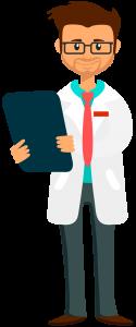 Illustration eines zufriedenen Arztes