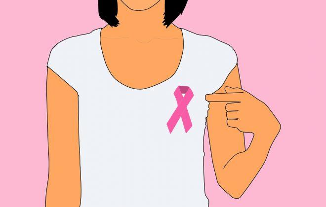 Illustration Frau zeigt auf pink ribbon auf ihrem T-Shirt